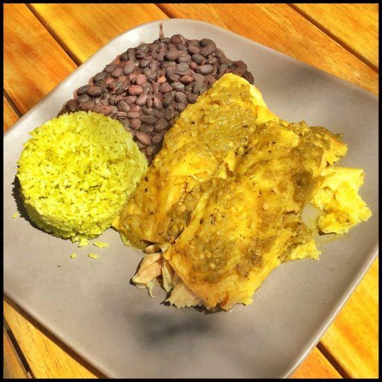 Chicken Enchilada with Green Chile at Sweetwater Harvest Kitchen in Santa Fe, New Mexico (Source: virtualDavis)