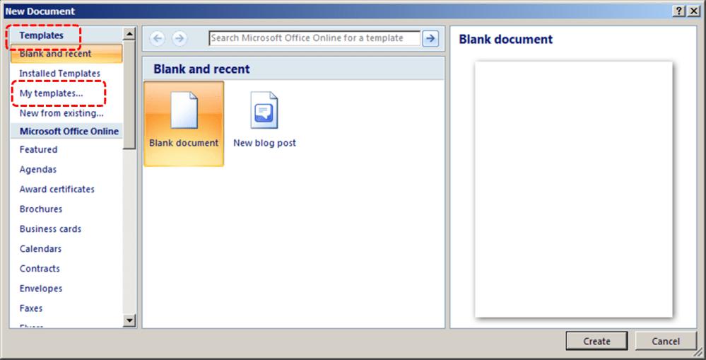 medium resolution of image demonstrates location of templates section and my templates option in new document dialog