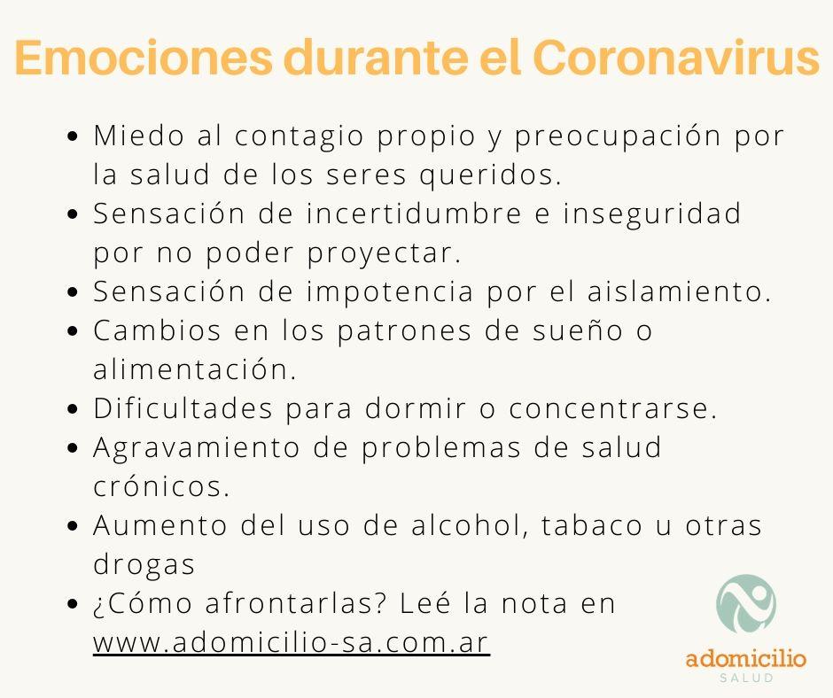 Cuáles son las emociones esperables durante la pandemia del Coronavirus