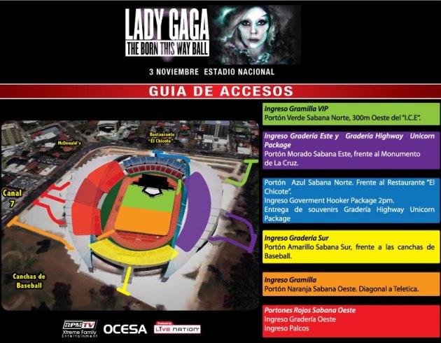 Accesos concierto Lady Gaga en Costa Rica
