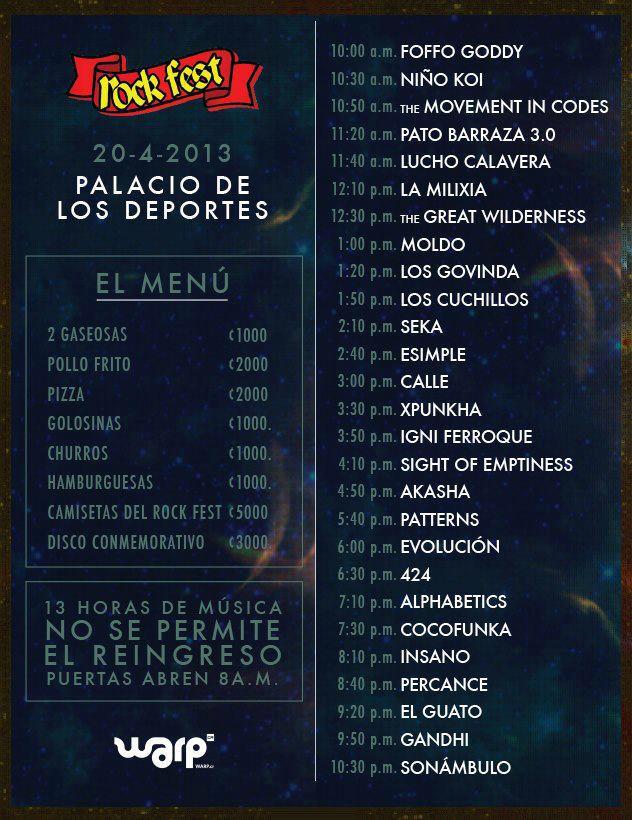 Line up oficial Rock Fest 2013