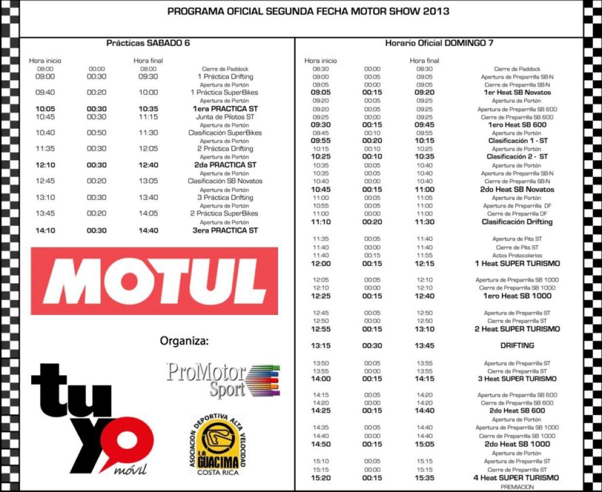 Programa Segunda Fecha MotorShow Motul 2013