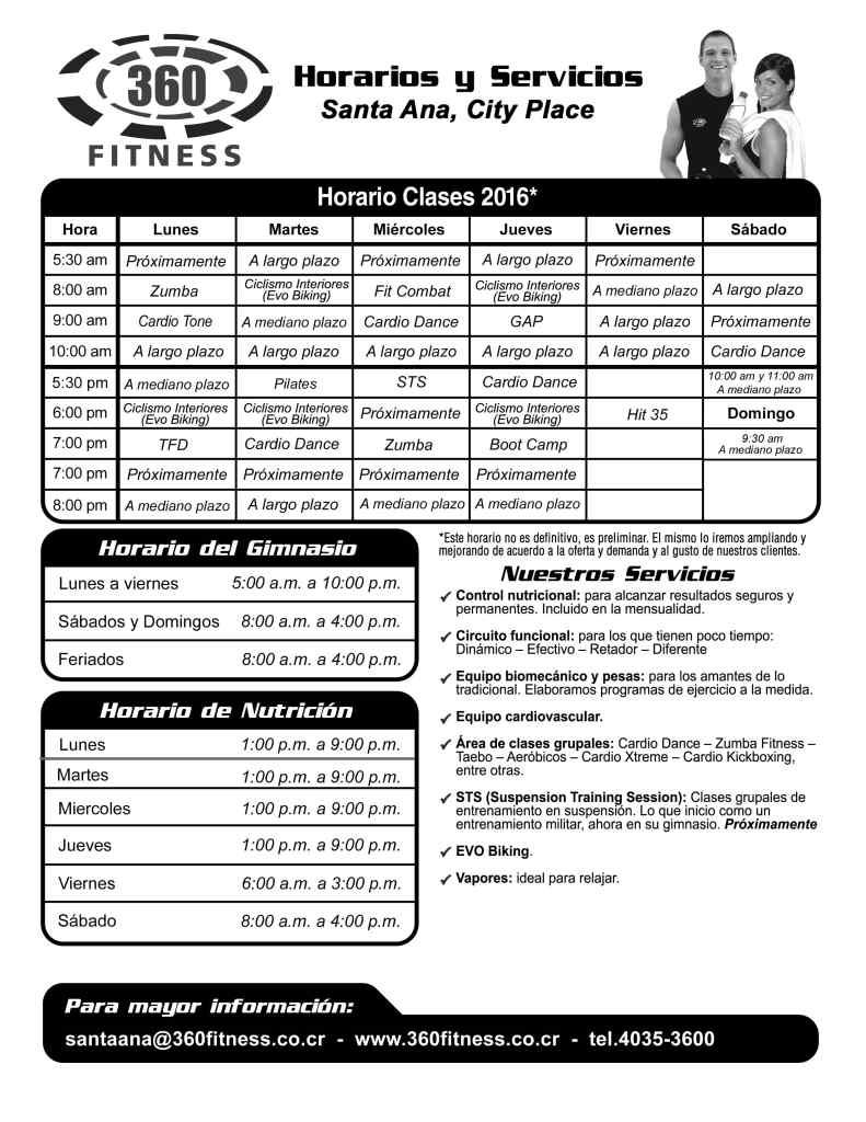 Horarios Gimnasios 360 Fitness Costa Rica
