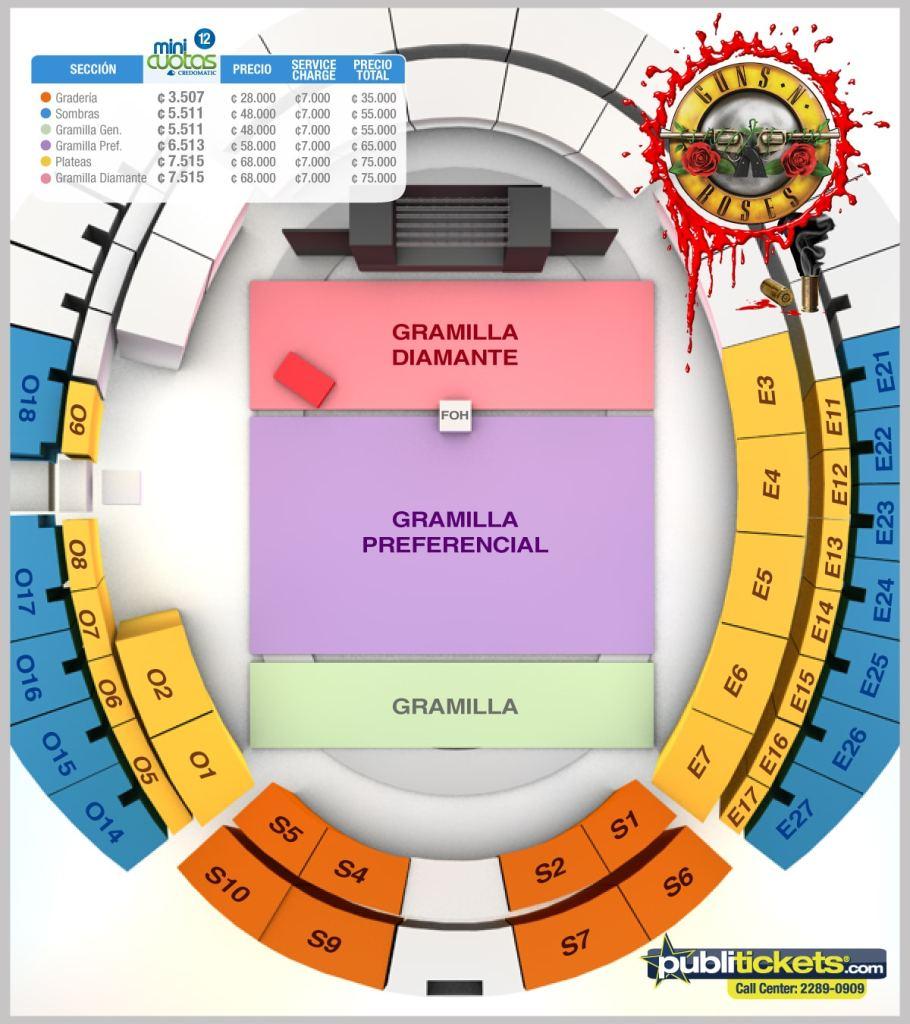 Mapa para el concierto de Guns n Roses en Costa Rica 2016