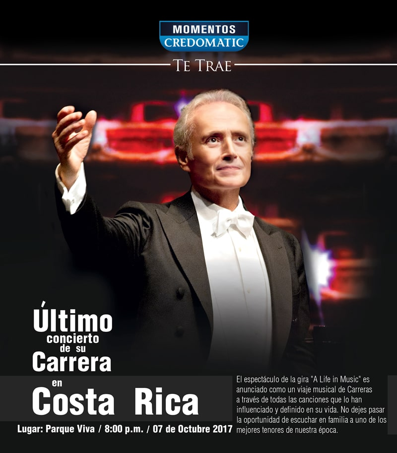 "Concierto José Carreras en Costa Rica ""A Life in Music, Final World Tour"", su gira de despedida"