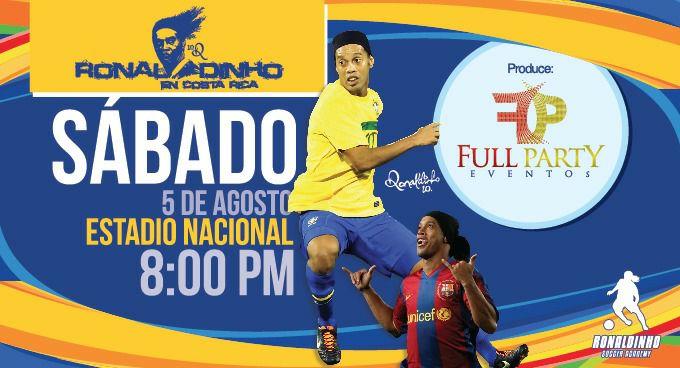 Ronaldinho en Costa Rica Jugará Partido con Iconos del Futbol
