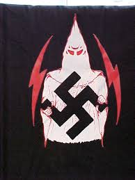 white hood and swastika