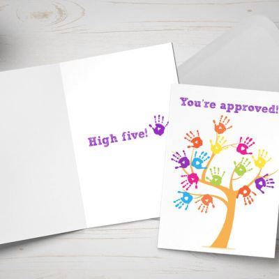 Adoption approval card - tree made of multicoloured hands