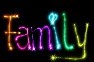 family written in coloured writing
