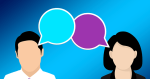 cartoon of man and woman with speech bubbles
