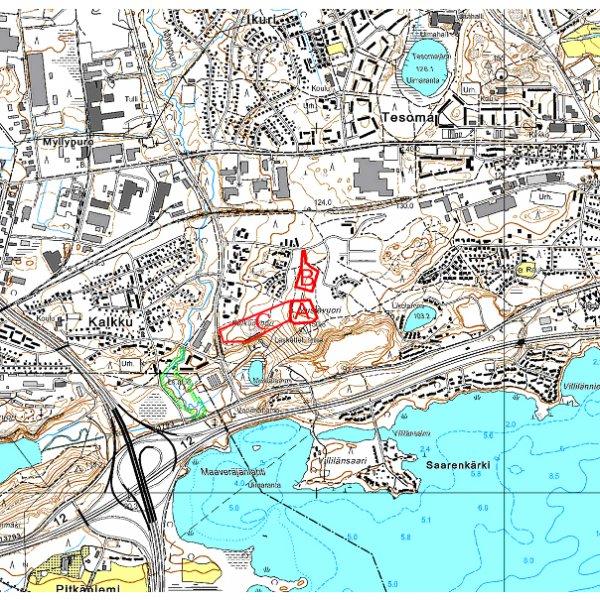 Tampere Mustavuori alueet A-B-C