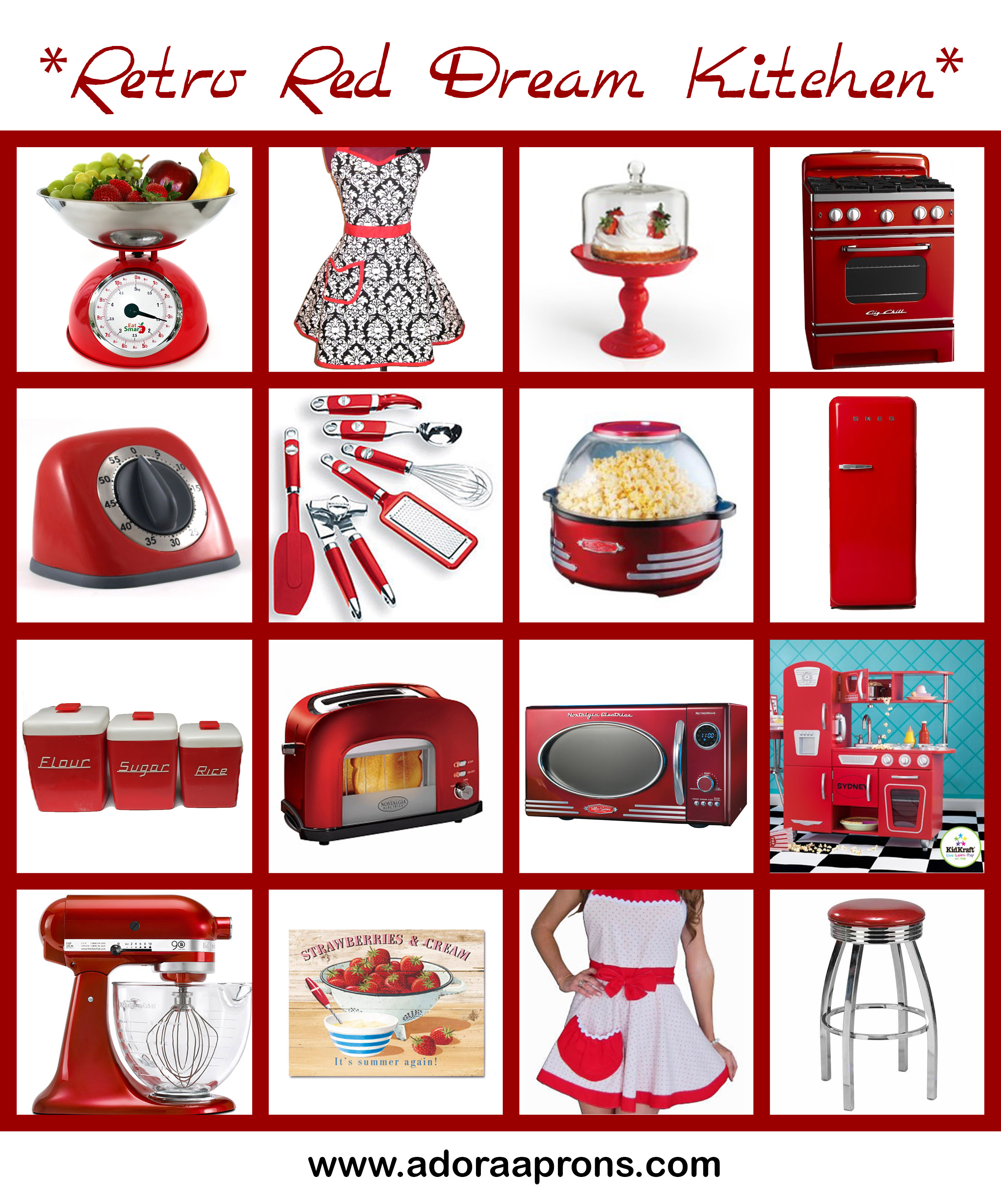 red kitchen accessories redesign retro interior design ideas