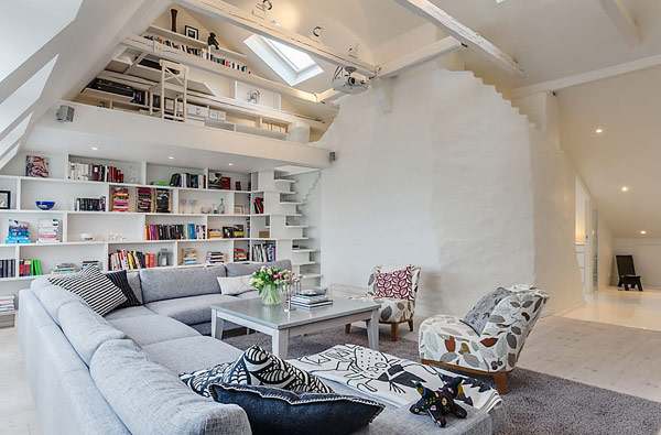 Attic Apartment Design With A Double Story Living Area – Adorable Home