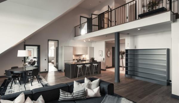 Gray decor triumphs in this Stockholm duplex  Adorable Home