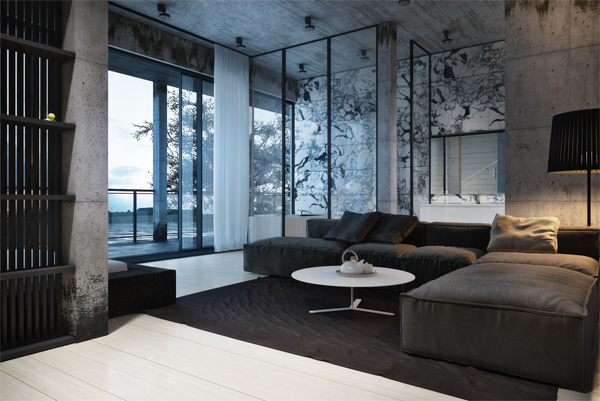 House on a lake featuring unique interior design