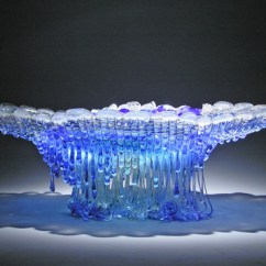 Diy Living Room Art Ideas Color Schemes With Navy Blue 'jelly Fish' Glass Sculptures – Adorable Home