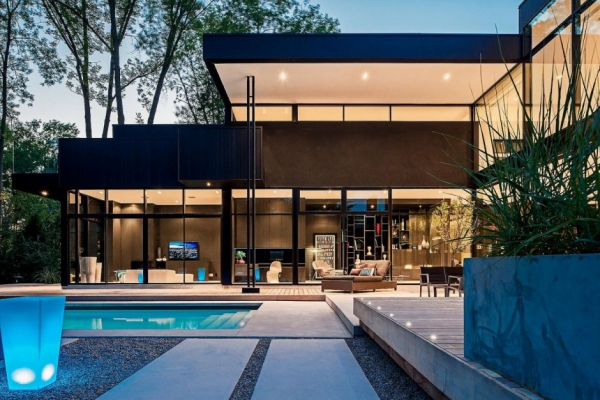Modern glass house in Ontario