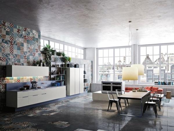 large loft style kitchen with big windows