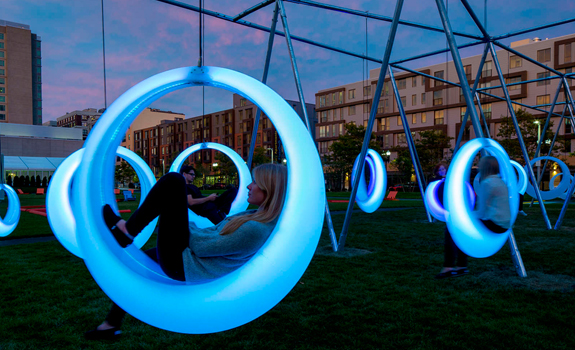 Glowing Swings Stimulate Boston Park Adorable Home