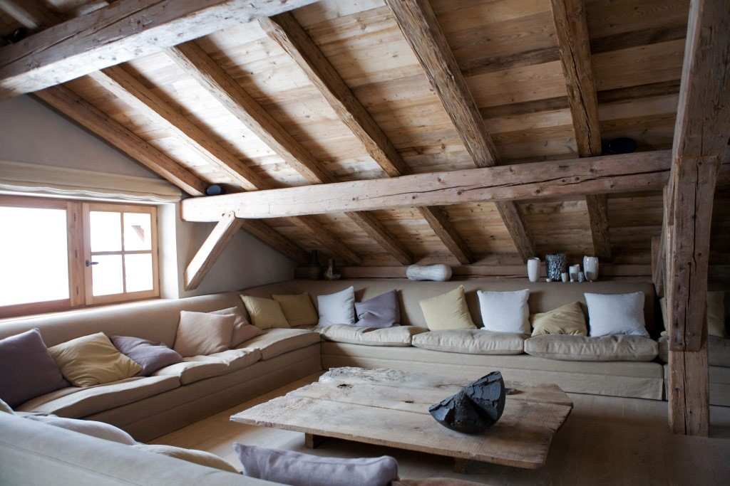 Attic Living Room In A Lake House