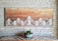 Reclaimed Wood Wall Art with Mountains