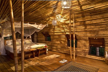 bamboo cabin fantasy interior beach bed front