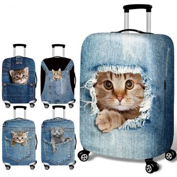 Cat Printed Luggage Cover For Pet Lovers Travel Accessories