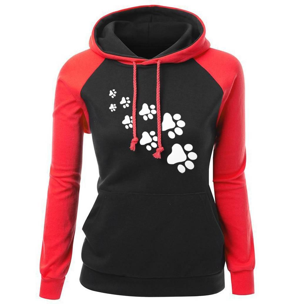 Women's Paw Printed Hoodie For Pet Lovers T-shirts & Sweatshirts