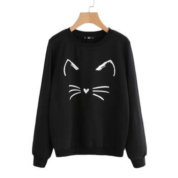 Women's Cat Printed Sweatshirt For Pet Lovers T-shirts & Sweatshirts