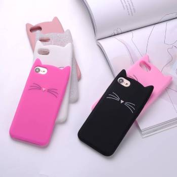 Cartoon Cat Shaped Soft Phone Case for iPhone For Pet Lovers Phone Accessories