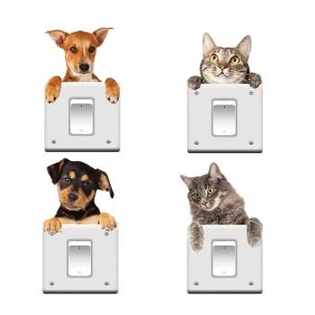 Cute Cat & Dog Wall Stickers Set For Pet Lovers Home Decor