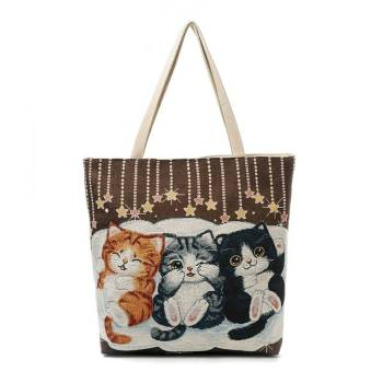 Women's Beach Cats Embroidered Handbag Bags & Wallets For Pet Lovers