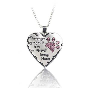 Silver Necklace Heart with Crystal Cat Paw Memorials Necklaces