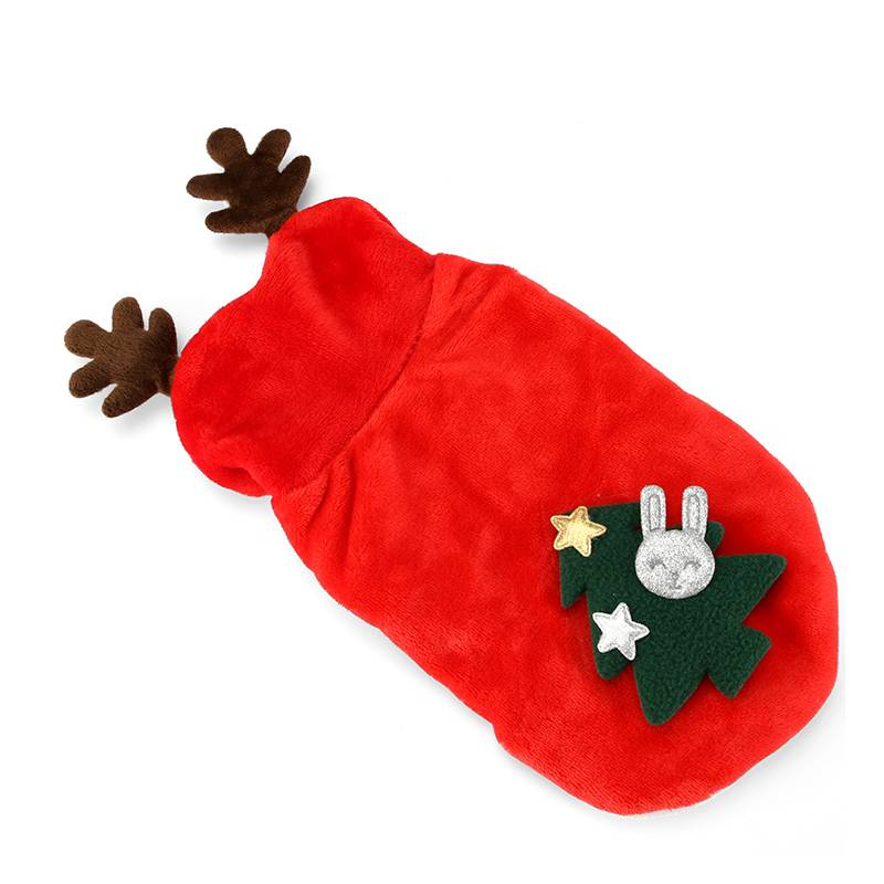 Warm Soft Small Dog Christmas Costume with Hood and Elk Antlers