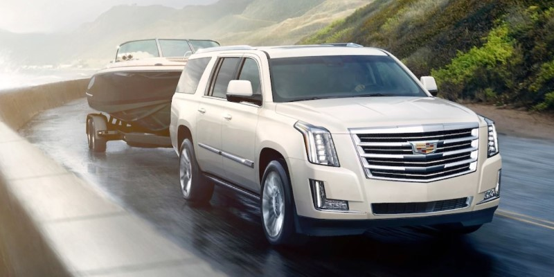 2021 Cadillac Escalade Towing a Boat