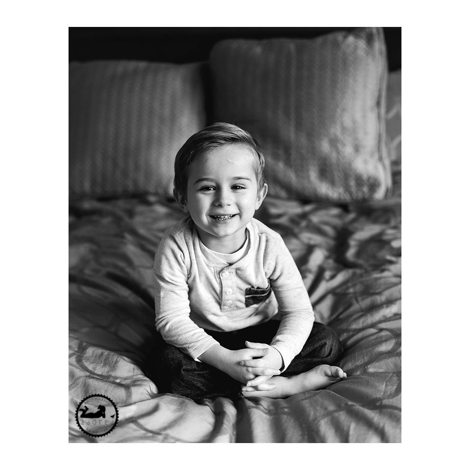 Black & white children's portrait.  Photographer Adored by Meghan, Tri-Cities, WA lifestyle portrait photographer.