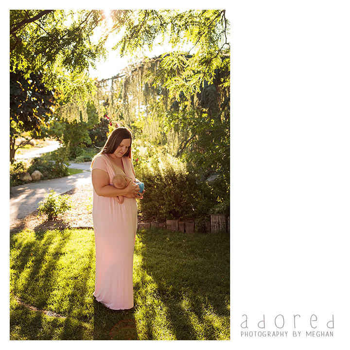 Kennewick Richland Pasco WA Nursing Breastfeeding portraits at the Kennewick library gardens. Photographed by Adored by Meghan Photography