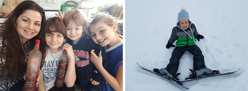 Family drinking NingXia Red from Young Living, little boy fallen down with skis