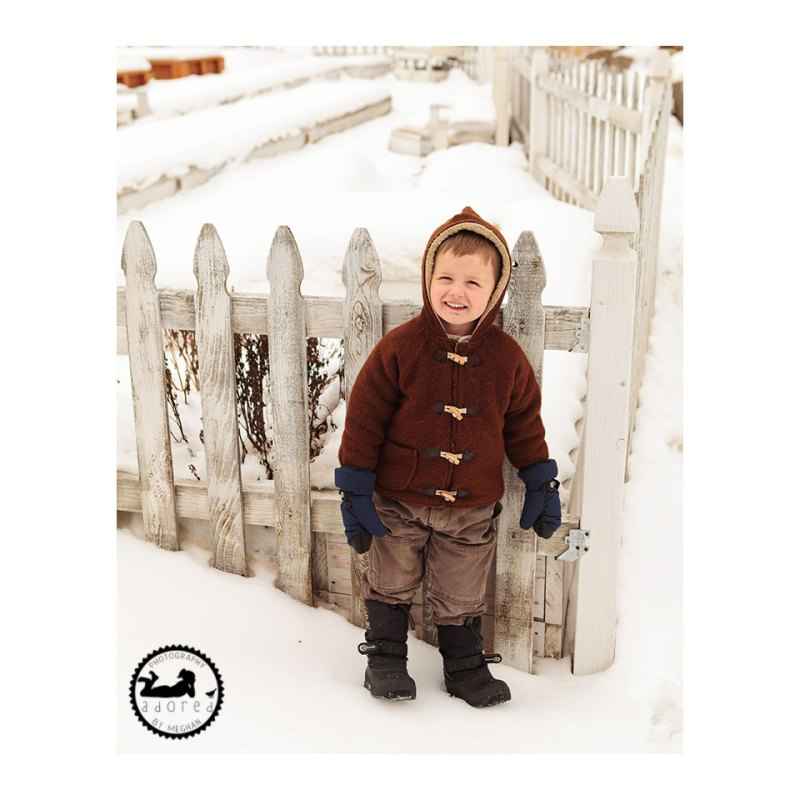 Snow Boy. Photographed by Adored by Meghan, family photographer, Kennewick, WA. A snowy day for photos.