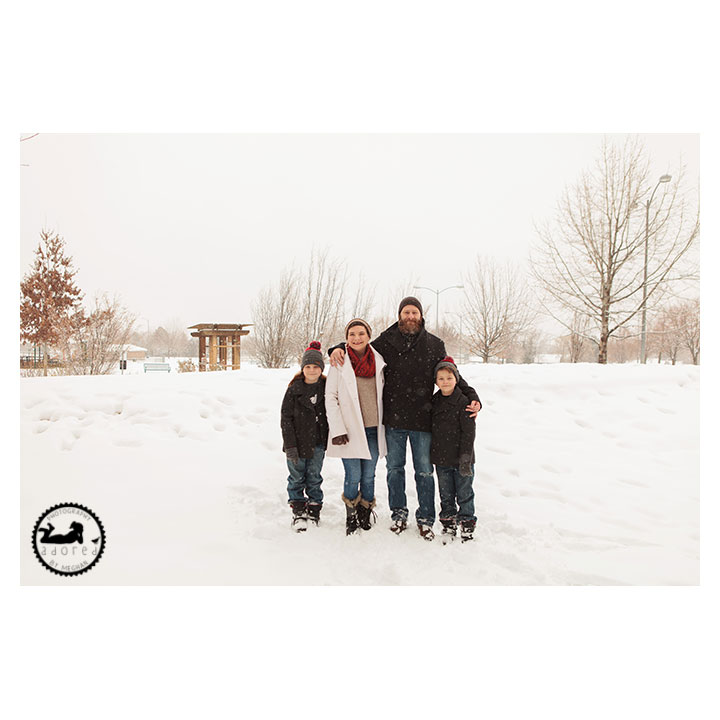 There's no fun like SNOW fun. Family mini-session in the snow with Adored by Meghan photography in Kennewick, WA.