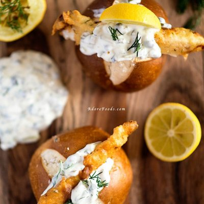 Dutch Lekkerbekjes – Deep Fried Fish in a Bun with Tartare Sauce