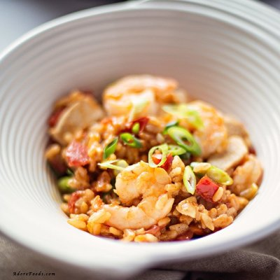 Creole Shrimp, Chicken and Sausage Red Jambalaya