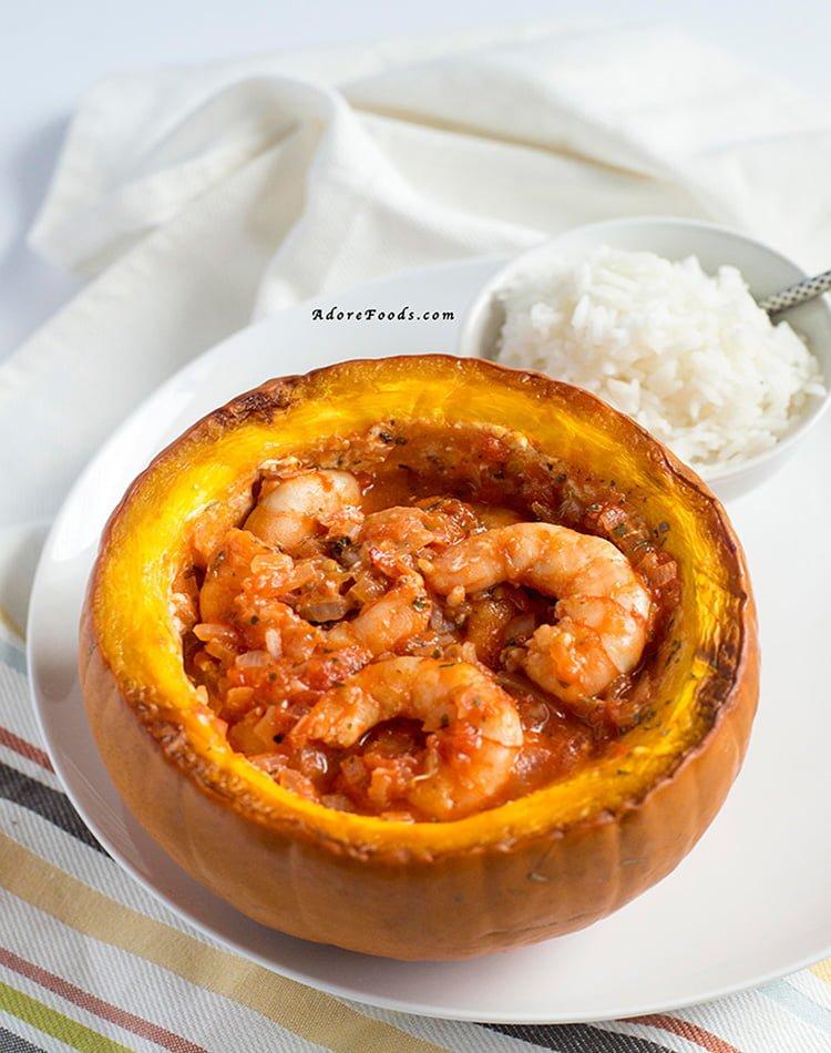 Brazilian shrimp stuffed pumpkin (Camarão na Moranga)