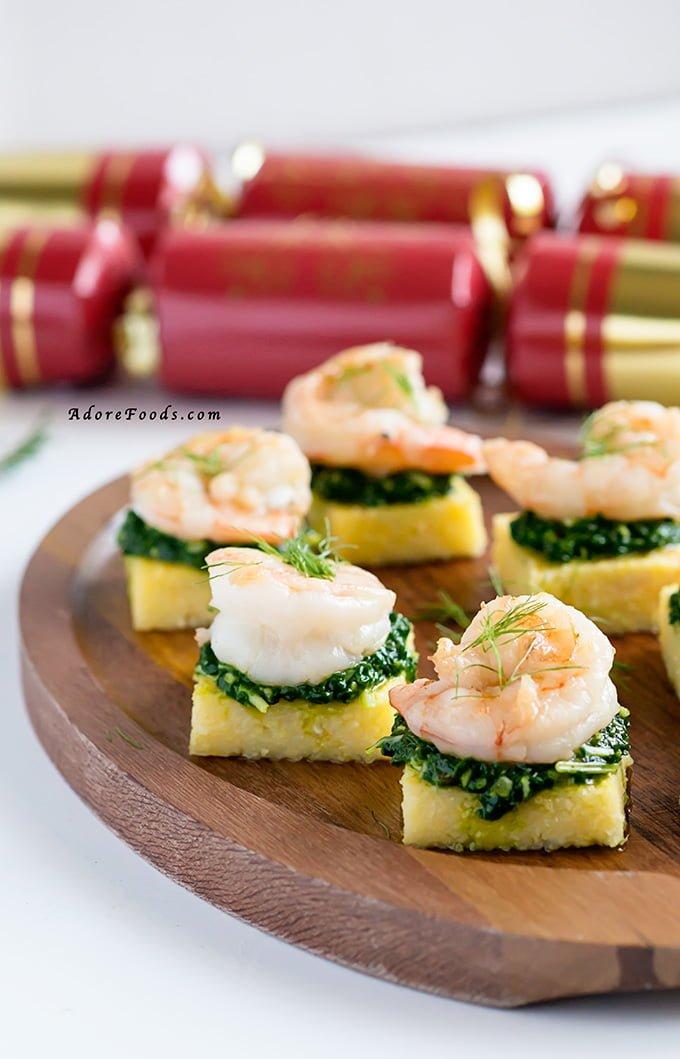 Polenta Squares with Garlic Shrimp and Spinach Pesto