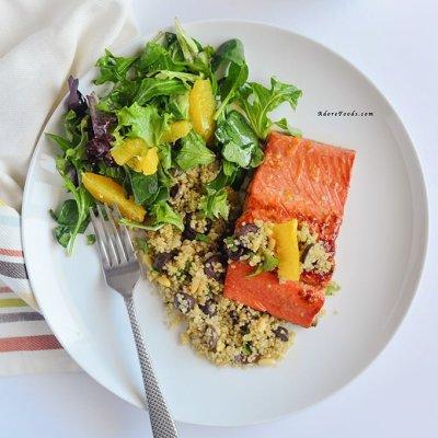 30 Minute Orange Glazed Salmon with Quinoa