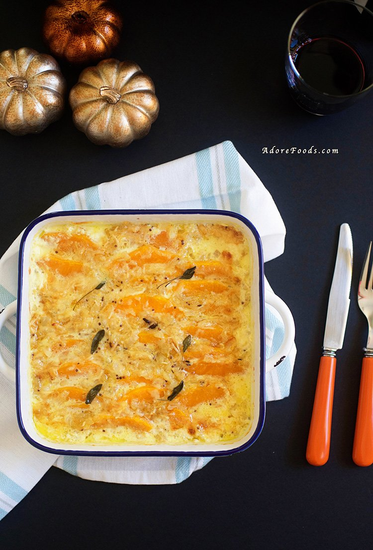cheesy butternut squash gratin