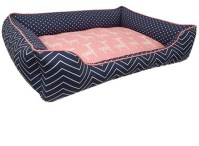 Luxurious Baby Pink & Navy Dog Bed | High End Pet Furniture