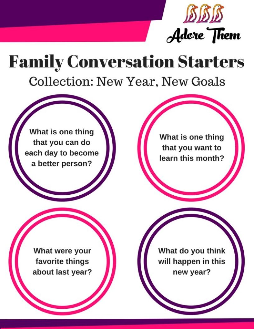 Family Conversation Starters - New Year, New Goals