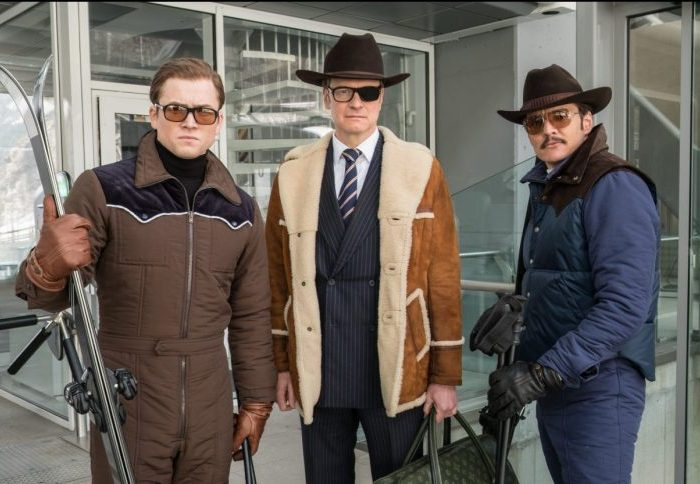 Eggsy (Taron Egerton), Harry (Colin Firth) und Agent Whiskey (Pedro Pascal) am Lift - Filmstill aus KINGSMAN: THE GOLDEN CIRCLE (2017) - © 20th Century Fox