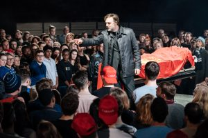 David Morrissey (Mark Anthony) -- Julius Caesar at the Bridge Theatre - Photographer credit Manuel Harlan